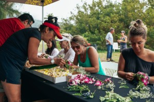 OluKai Ho'olaule'a Giveback Day 2015 Floral Crown Making Photo by Mark Kushimi
