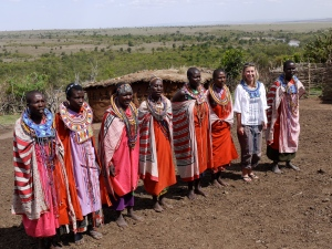 Julia with the Masai in Kenya.
